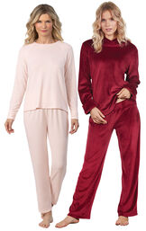 Models wearing Naturally Nude Knit Pajamas - Light Pink and Tempting Touch PJs - Garnet. image number 0
