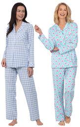 Models wearing Modern Floral Boyfriend Pajamas and Heart2Heart Gingham Boyfriend Pajamas - Periwinkle image number 0