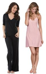 Models wearing Naturally Nude Pajamas - Solid Black and Naturally Nude Chemise - Pink.