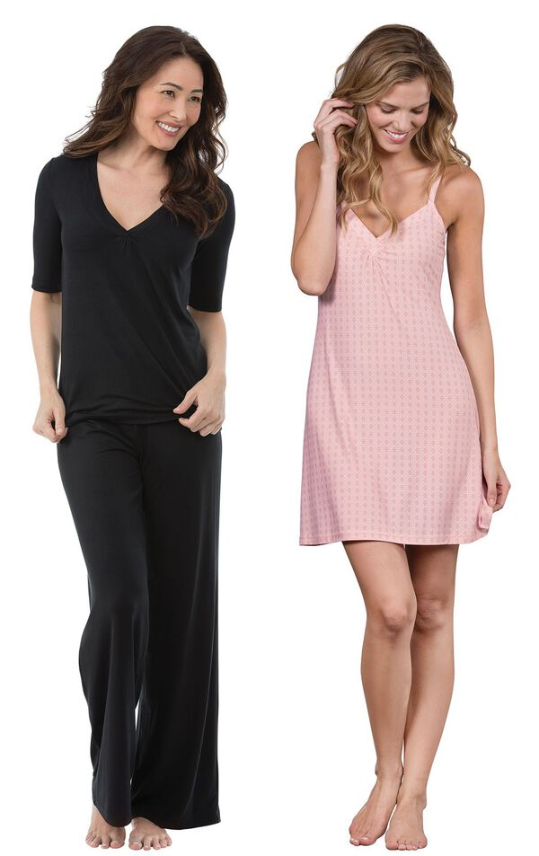 Models wearing Naturally Nude Pajamas - Solid Black and Naturally Nude Chemise - Pink. image number 0