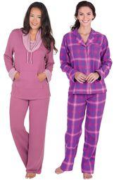 Models wearing World's Softest Pajamas - Raspberry and Raspberry Plaid Boyfriend Flannel Pajamas.