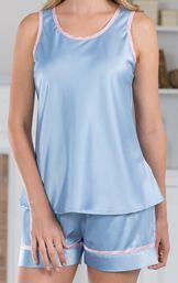 Close up of Dreamy Satin Short Set Blue Satin Tank Top with Pink Trim image number 5
