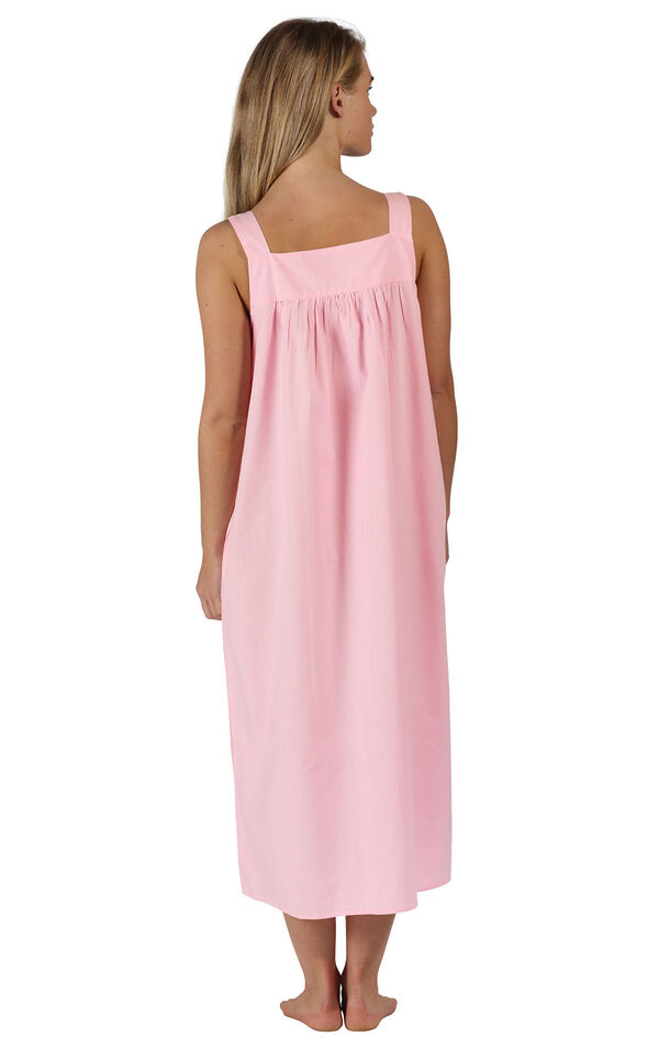 Model wearing Meghan Nightgown in Pink for Women, facing away from the camera image number 1