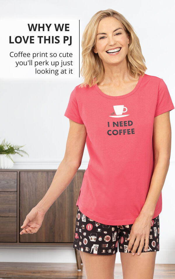 Model wearing Coffee Lover Short Set with the following copy: Why we Love this PJ - Coffee print so cute you'll perk up just looking at it image number 2