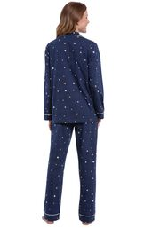 Model wearing Navy Blue Star Button-Front PJ for Women, facing away from the camera image number 1