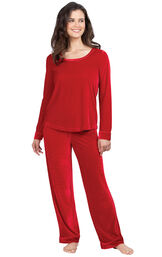 Model wearing Red Velour PJ with Satin Trim for Women image number 0