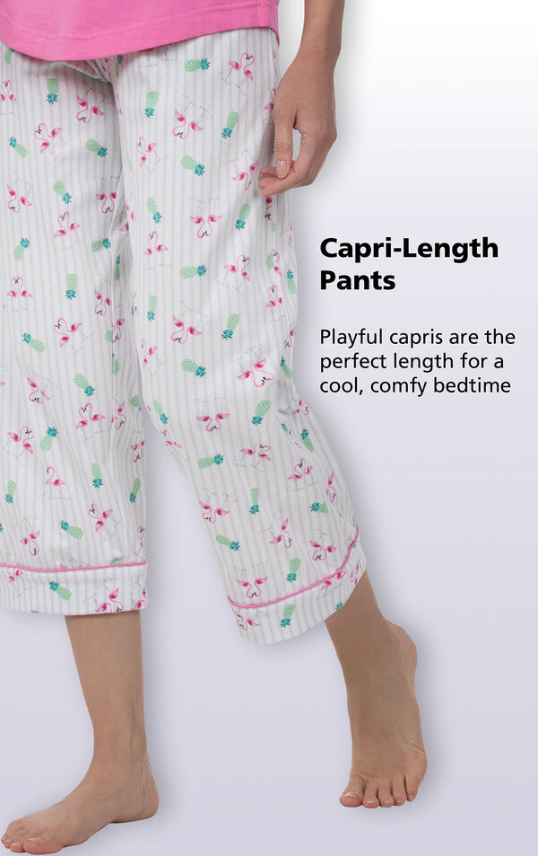 Close-up of Flamingo Stripe PJs Capri-Length Pants with the following copy: Playful capris are the perfect length for a cool, comfy bedtime image number 4