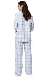 Model wearing Blue Plaid Button-Front PJ for Women, facing away from the camera image number 1