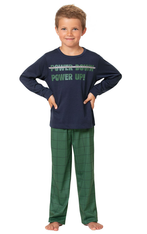 Model wearing Green Windowpane Check PJ with Graphic Tee for Youth image number 0