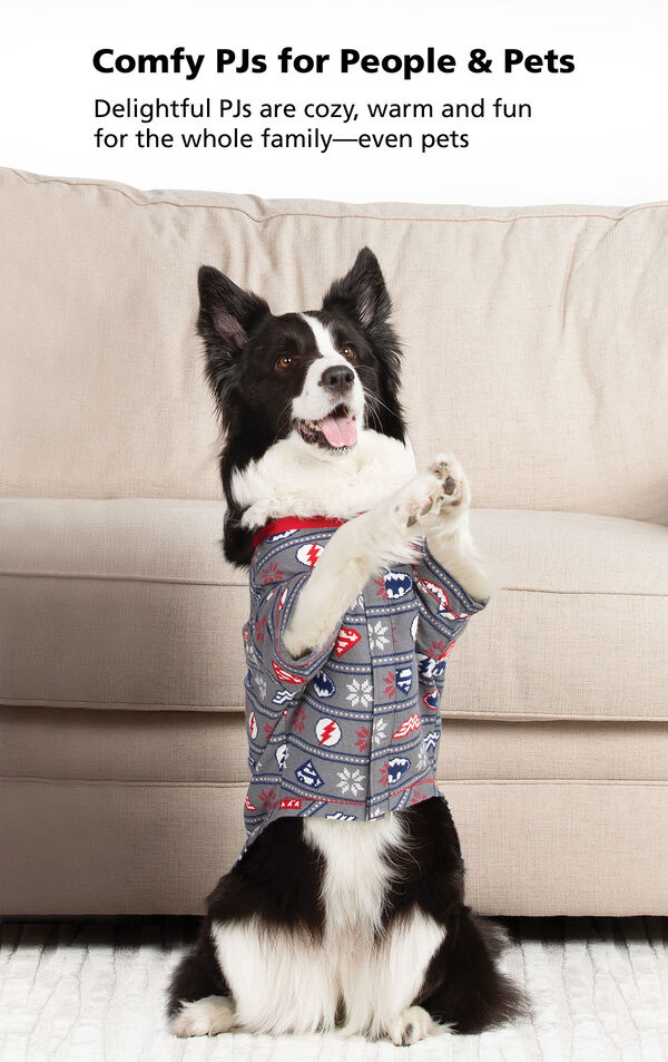 Dog in front of couch standing on hind legs with the following copy: Comfy PJs for People and Pets - delightful PJs are cozy, warm and fun for the whole family- even pets image number 2