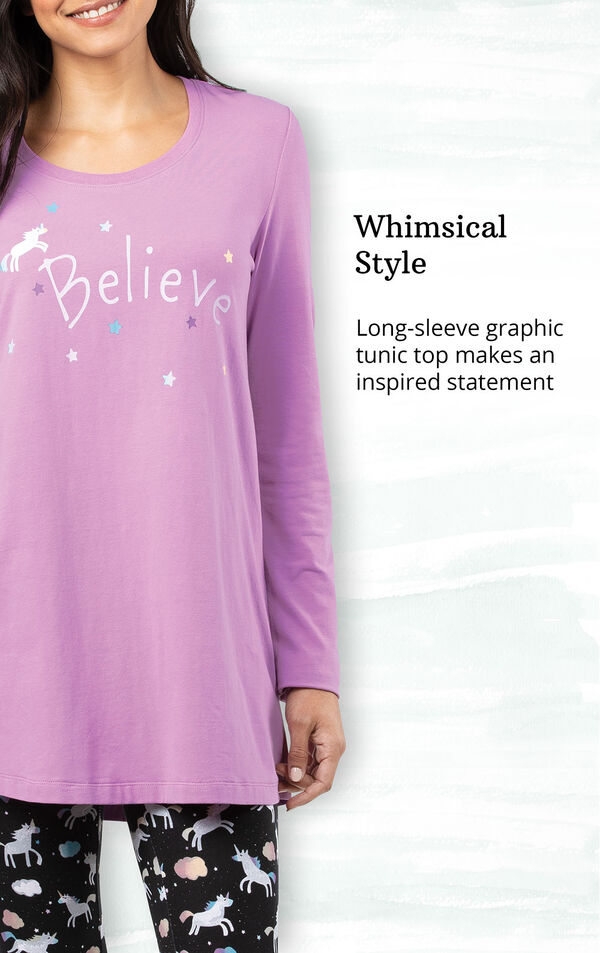 Classic Style - Long-sleeve tunic top has a convenient chest pocket image number 3