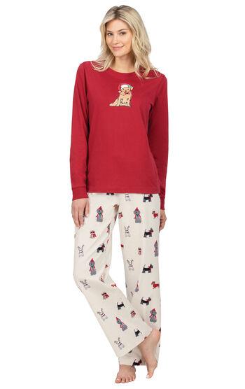 Christmas Dog Flannel Pajamas - Red
