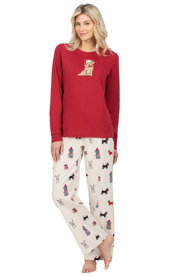Model wearing Holiday Dog Print PJ with Graphic Tee for Women image number 0
