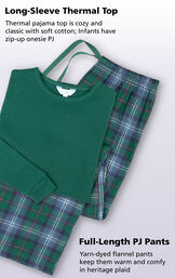Thermal pajama top is cozy and classic with soft cotton; Infants have a zip-up onesie PJ. Yarn-dyed flannel pants keep them warm and comfy in heritage plaid image number 3