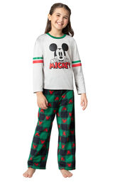 Model wearing Red and Green Mickey Holiday Pajamas for Girls