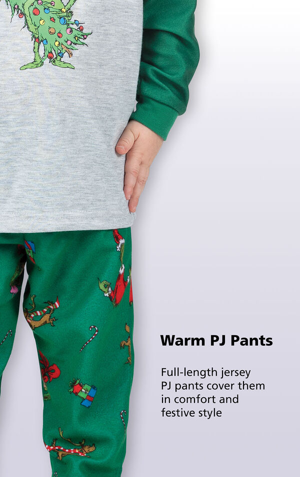 Close-up of Dr. Seuss' The Grinch PJ Warm PJ Pants with the following copy: Full-length jersey PJ pants cover them in comfort and festive style image number 3