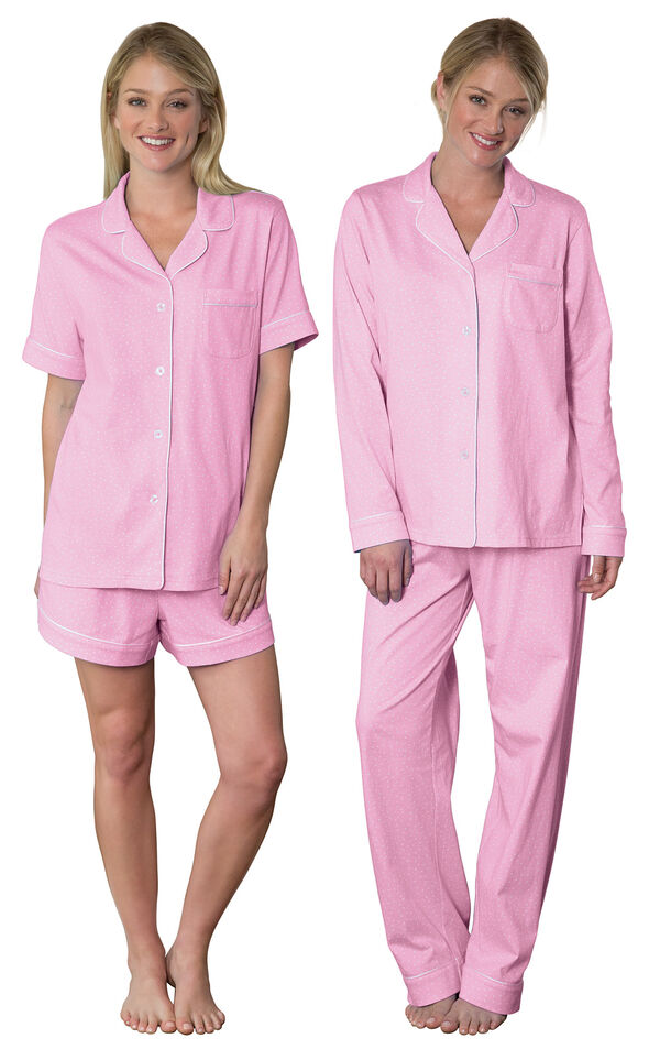 Models wearing Classic Polka-Dot Short Set - Pink and Classic Polka-Dot Boyfriend Pajamas - Pink. image number 0
