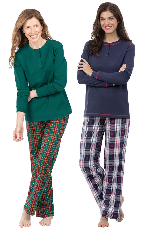 Models wearing Christmas Tree Plaid Pajamas and Snowfall Plaid Pajamas. image number 0