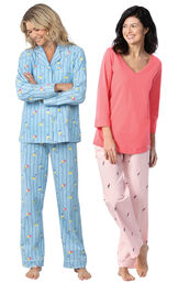 Models wearing Margaritaville Flannel Boyfriend Pajamas - Cocktail O'Clock and Margaritaville Tropical Dreams Pajamas - Pink.