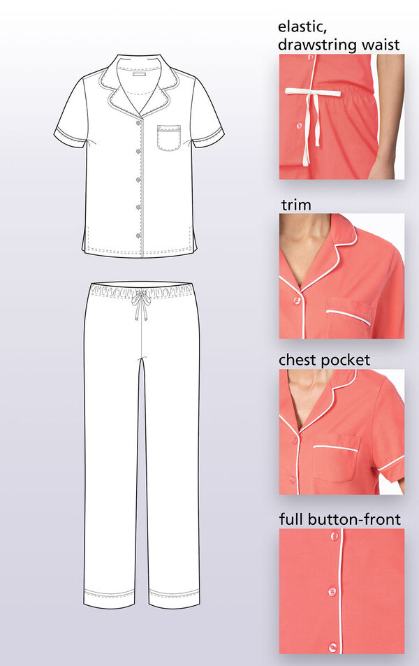 Technical drawing highlighting the following features: elastic drawstring waist, white trim, chest pocket and full button front image number 2