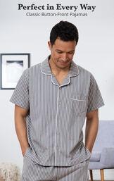 Gray Stripe Short Sleeve Button-Front Short Set for Men image number 2