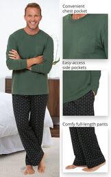 Jersey Long-Sleeve Men's Pajamas - Geometic Trees image number 3