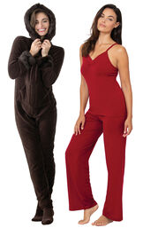 Mink Chocolate Hoodie-Footie and Red Naturally Nude Cami PJs image number 0