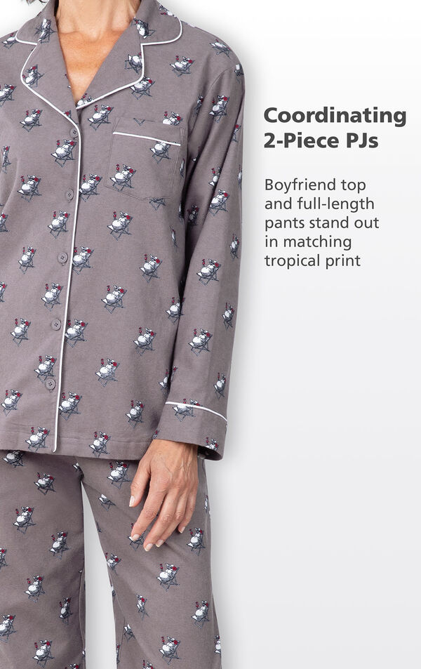 Coordinating 2-Piece PJs - Gray Boyfriend top and full-length pants stand out in matching tropical snowman print image number 3
