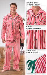 Close-ups of the features of Candy Cane Fleece Men's Pajamas which include a notched collar and chest pocket, classic button-front style and elastic waist with drawstring image number 3