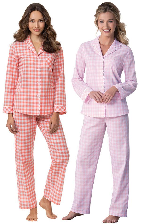 Models wearing Heart2Heart Gingham Boyfriend Pajamas - Coral and Heart2Heart Gingham Boyfriend Pajamas - Pink image number 0