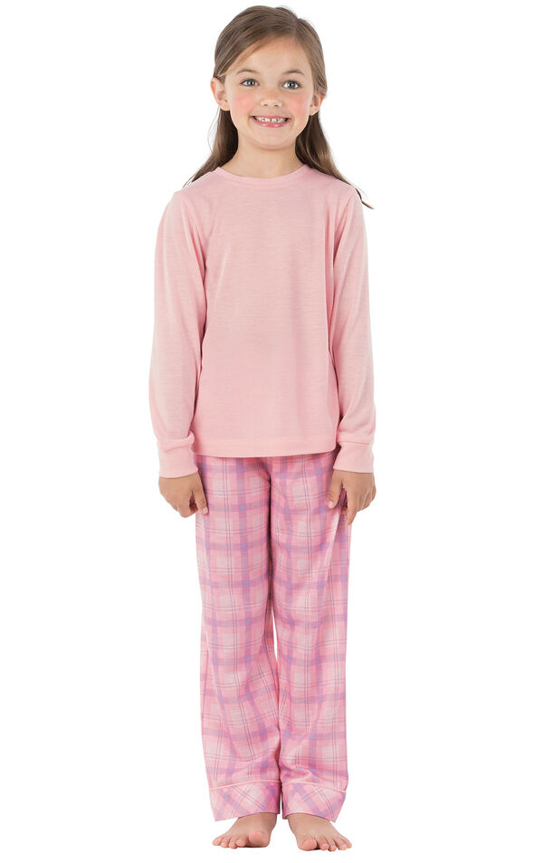 Model wearing Pink Plaid PJ for Youth image number 0