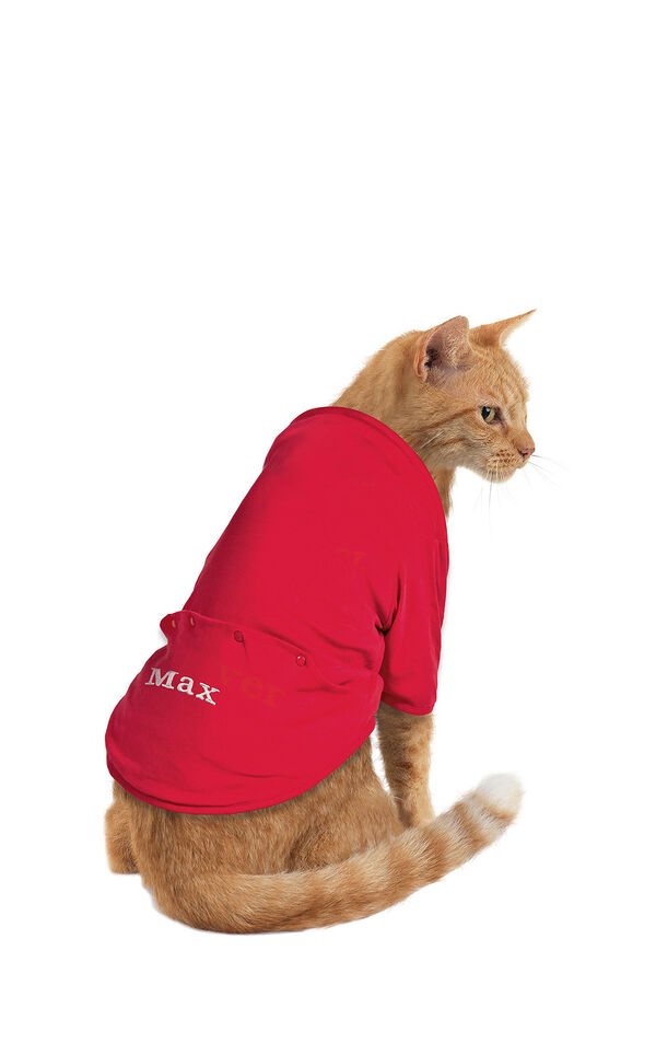 Model wearing Red Dropseat Onesie PJ for Cats image number 0