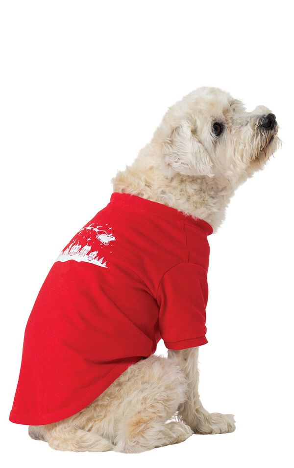 Model wearing Red and Green Night Before Christmas PJ - Pet image number 0
