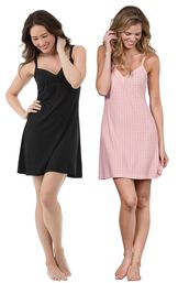Models wearing Naturally Nude Chemise - Solid Black and Naturally Nude Chemise - Pink.