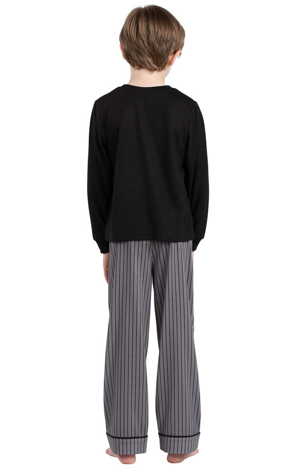 Model wearing Charcoal Gray and Black Stripe PJ for Youth, facing away from the camera image number 1