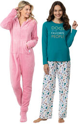 Models wearing Dogs Are My Favorite Pajamas and Hoodie-Footie - Pink image number 0