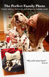 "Customer Photos of Christmas Dog Print Flannel Pajamas with the following copy: The Perfect Family Photo - Create Lasting Memories and Amazing Holiday Cards. Customer Quote: ""My wife loves them"" - Brian B. image number 2"