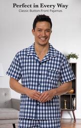 Blue Gingham Short Sleeve Button-Front Short Set for Men image number 2