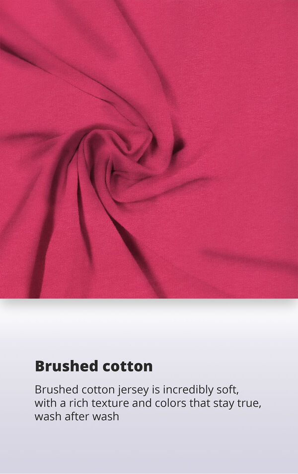 Jersey fabric swatch with the following copy: Smooth jersey is warm yet breathable. Machine-washable jersey won't thin out. High-quality fabric means colors stay bright. Soft jersey is cozy yet lightweight. image number 4