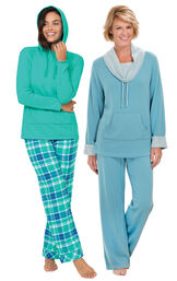 Wintergreen Plaid Hooded PJs and Teal World's Softest PJs image number 0