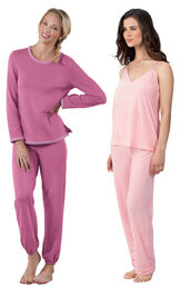 Models wearing World's Softest Jogger Pajamas - Raspberry and Velour Cami Pajamas - Pink.