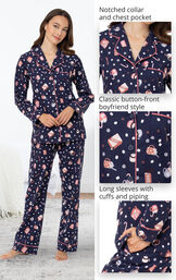 Mugs & Kisses Flannel Boyfriend Pajamas feature a notched collar and chest pocket, classic button-front boyfriend style and long sleeves with cuffs and piping image number 4
