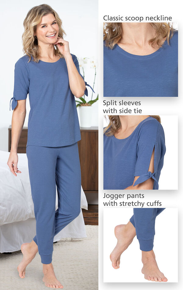 Close-ups of the features of Dusk Peekaboo Pajamas such as the classic scoop neckline, split sleeves with side tie and jogger pants with stretchy cuffs image number 3