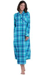 Model wearing Green and Blue Bright Plaid Gown for Women image number 0