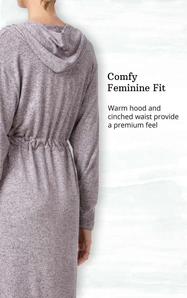 Pink Fleece Lounge Robe for Women image number 3