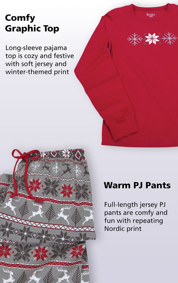 Comfy Graphic Top: Long sleeve pajama top is cozy and festive with soft jersey and winter-themed print. Full-length jersey warm PJ pants are comfy and fun with repeating Nordic print. image number 2