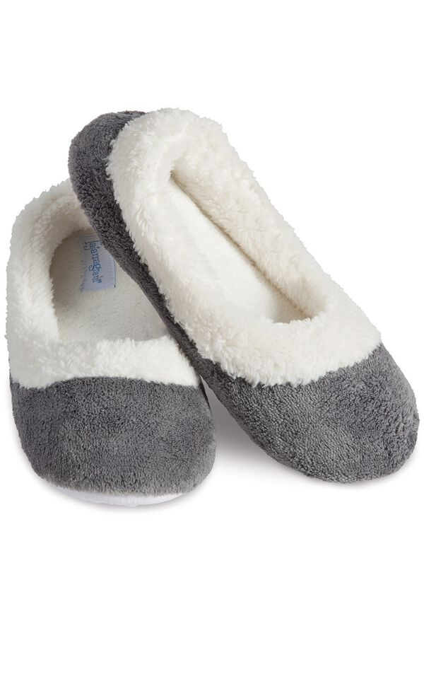 Model wearing World's Softest Gray Slippers for Women image number 0