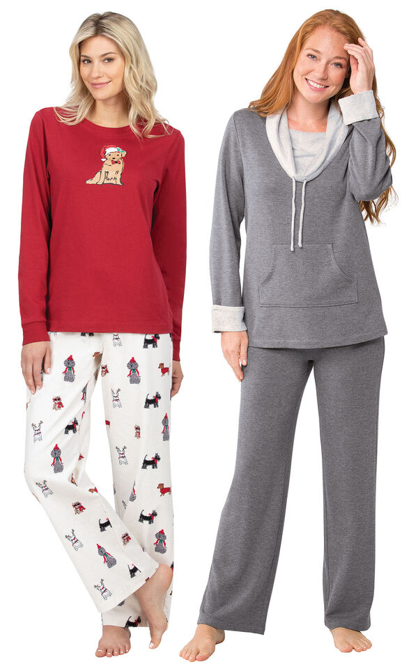 Models wearing Christmas Dog Flannel Pajamas - Red and World's Softest Pajamas - Charcoal. image number 0