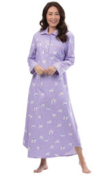 Model wearing Purple Flannel Cat Print Gown for Women image number 0