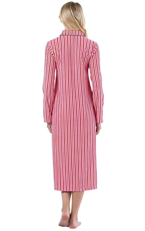 Model wearing Candy Cane Stripe Fleece Gown for Women, facing away from the camera image number 1